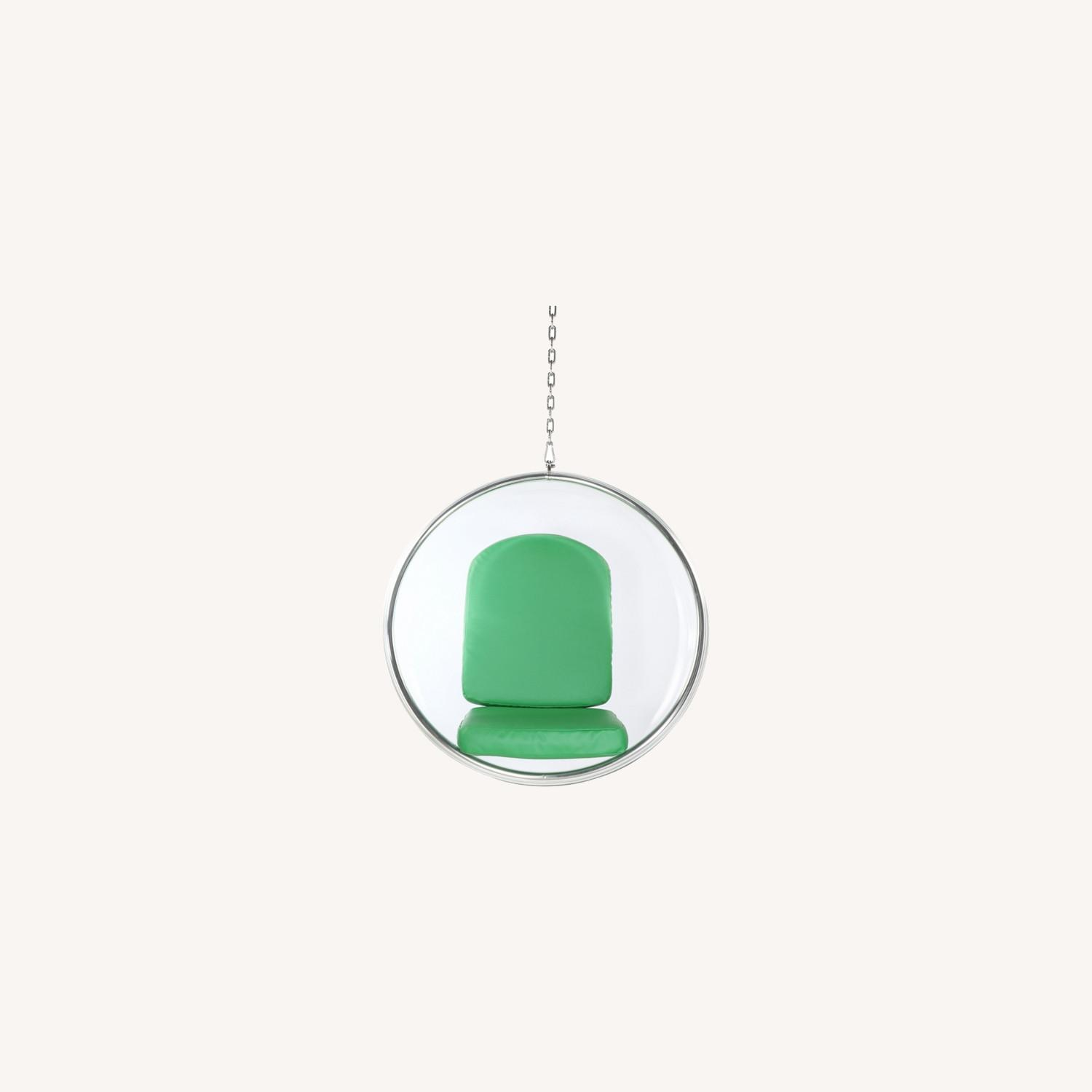 Hanging Chair In Clear Acrylic & Green PU Leather - image-7