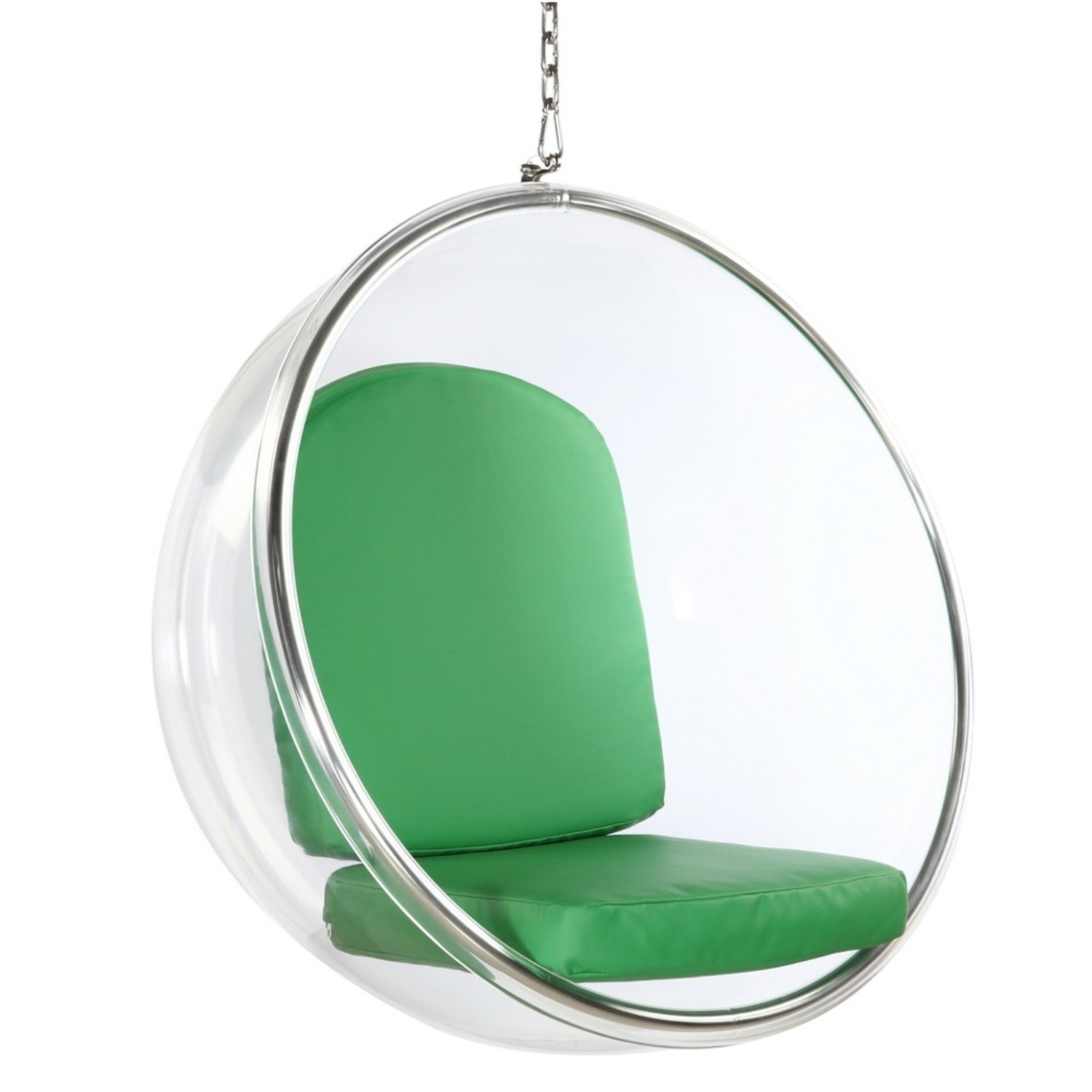 Hanging Chair In Clear Acrylic & Green PU Leather - image-0