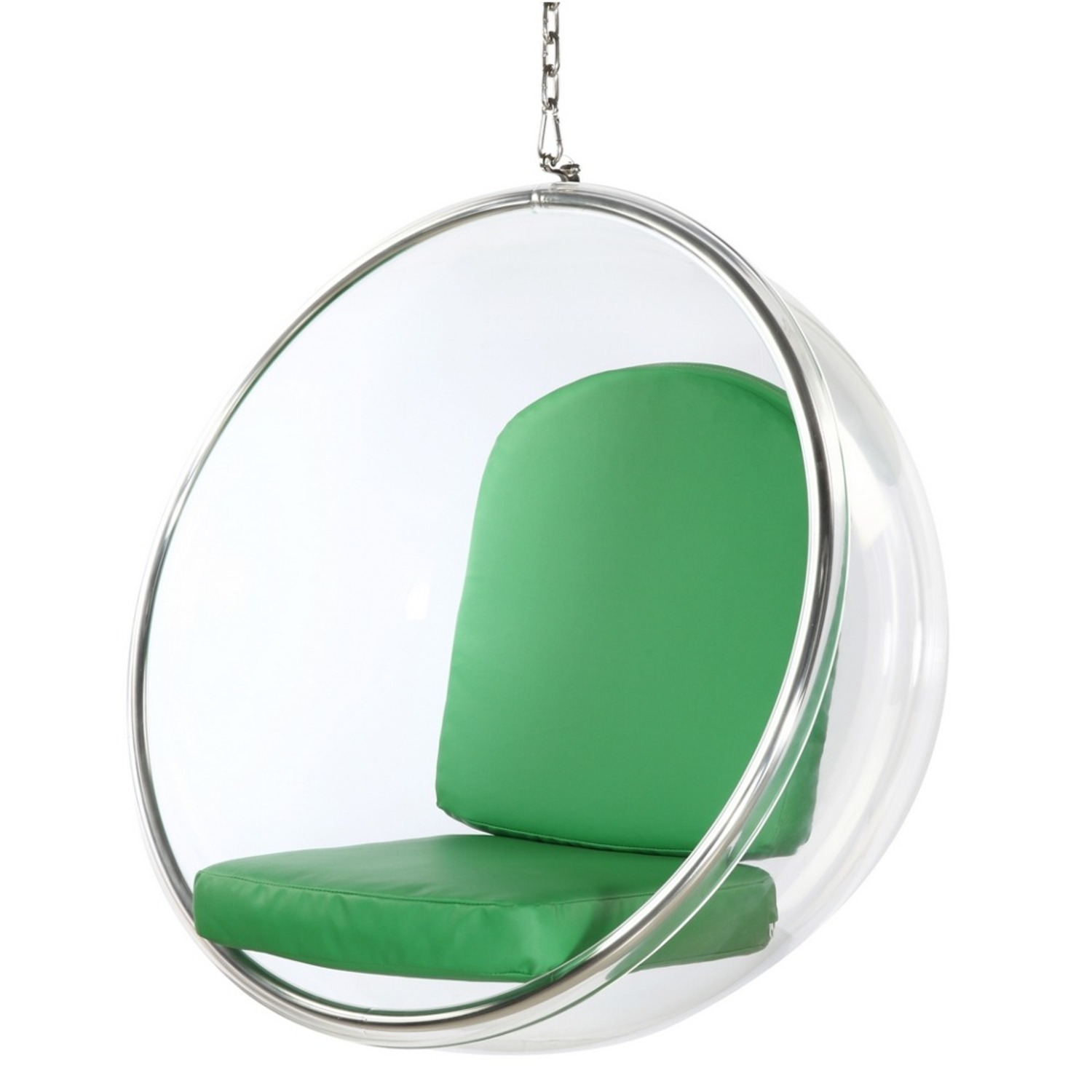 Hanging Chair In Clear Acrylic & Green PU Leather - image-4