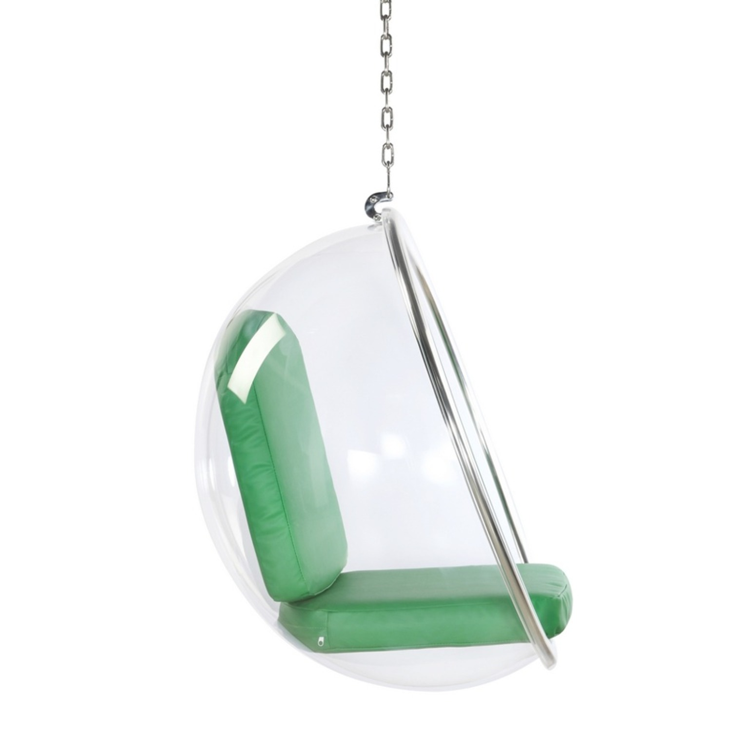 Hanging Chair In Clear Acrylic & Green PU Leather - image-1
