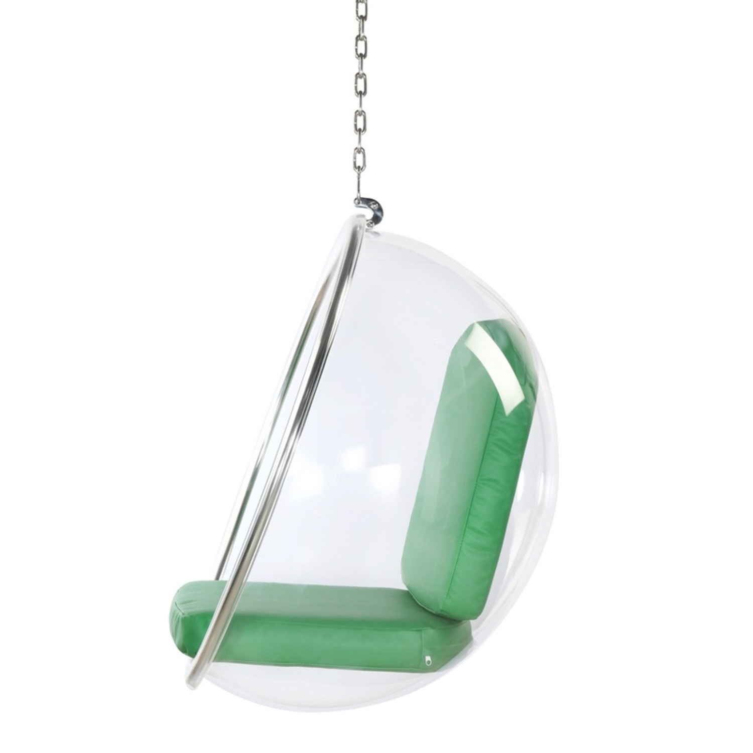 Hanging Chair In Clear Acrylic & Green PU Leather - image-3