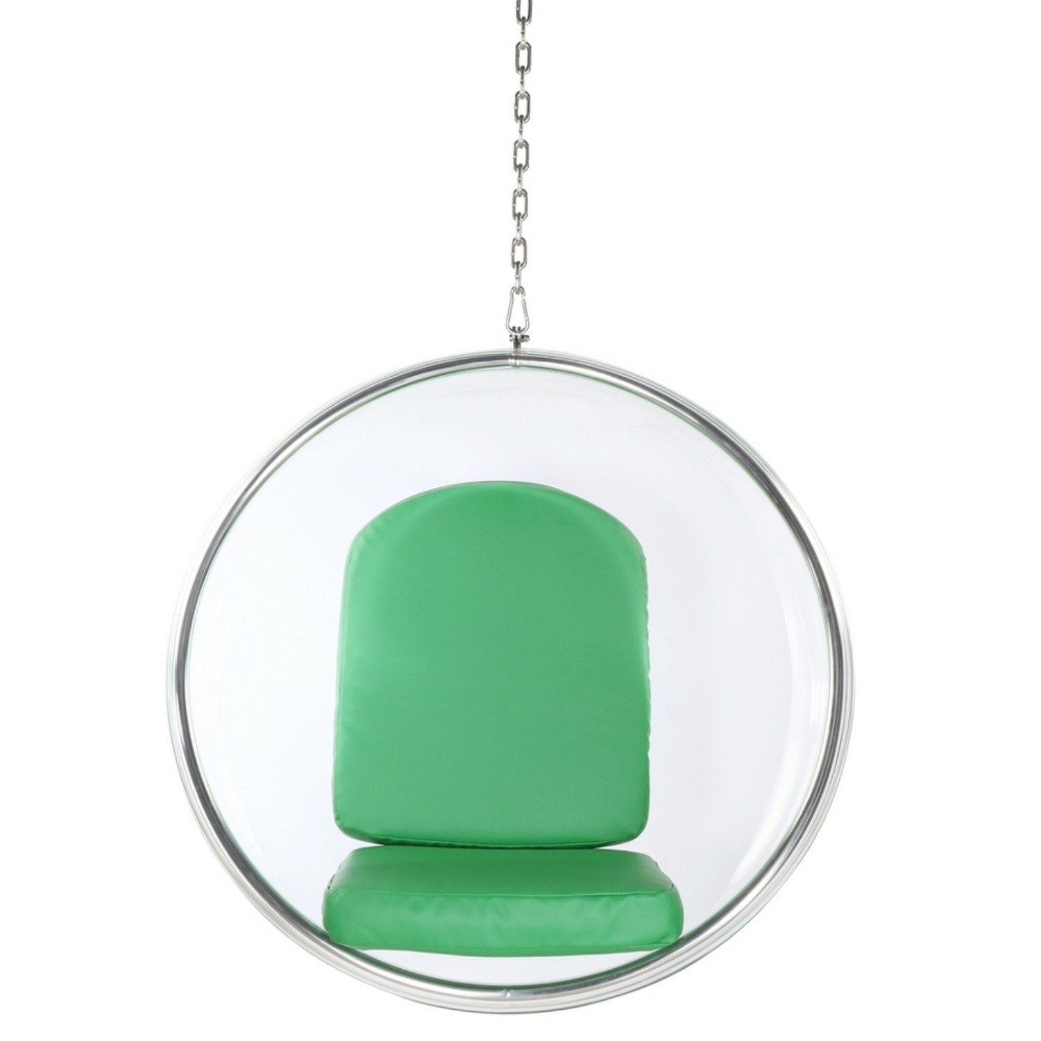 Hanging Chair In Clear Acrylic & Green PU Leather - image-5