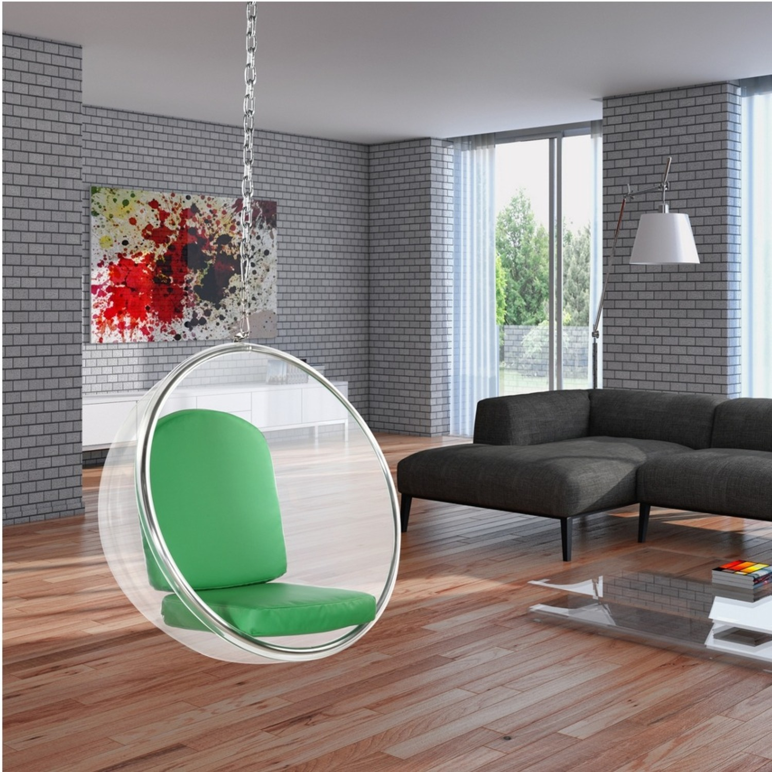 Hanging Chair In Clear Acrylic & Green PU Leather - image-6