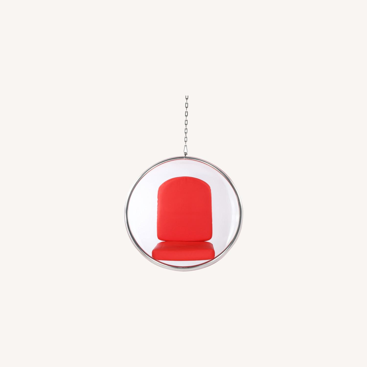 Hanging Chair In Clear Acrylic & Red PU Leather - image-8