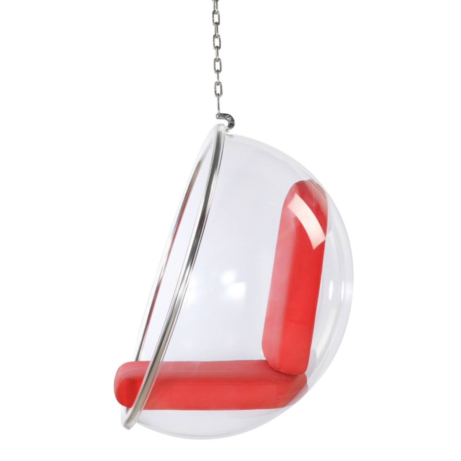 Hanging Chair In Clear Acrylic & Red PU Leather - image-3