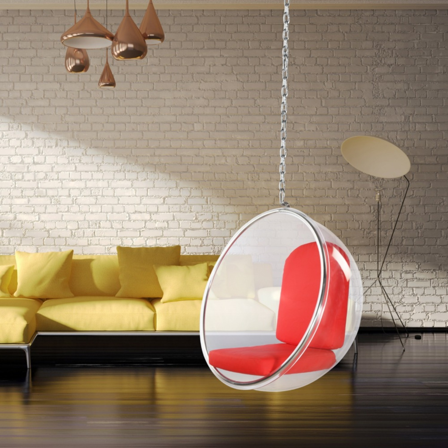 Hanging Chair In Clear Acrylic & Red PU Leather - image-7