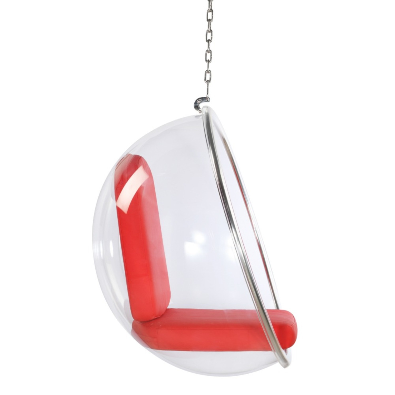 Hanging Chair In Clear Acrylic & Red PU Leather - image-1