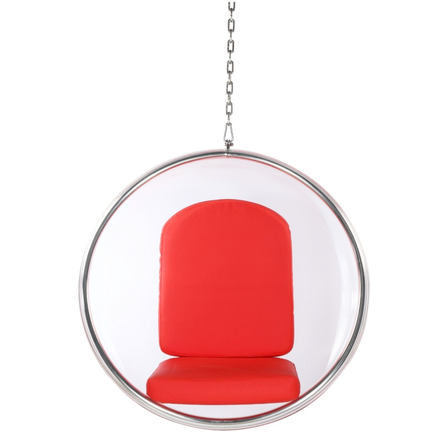 Hanging Chair In Clear Acrylic & Red PU Leather - image-5