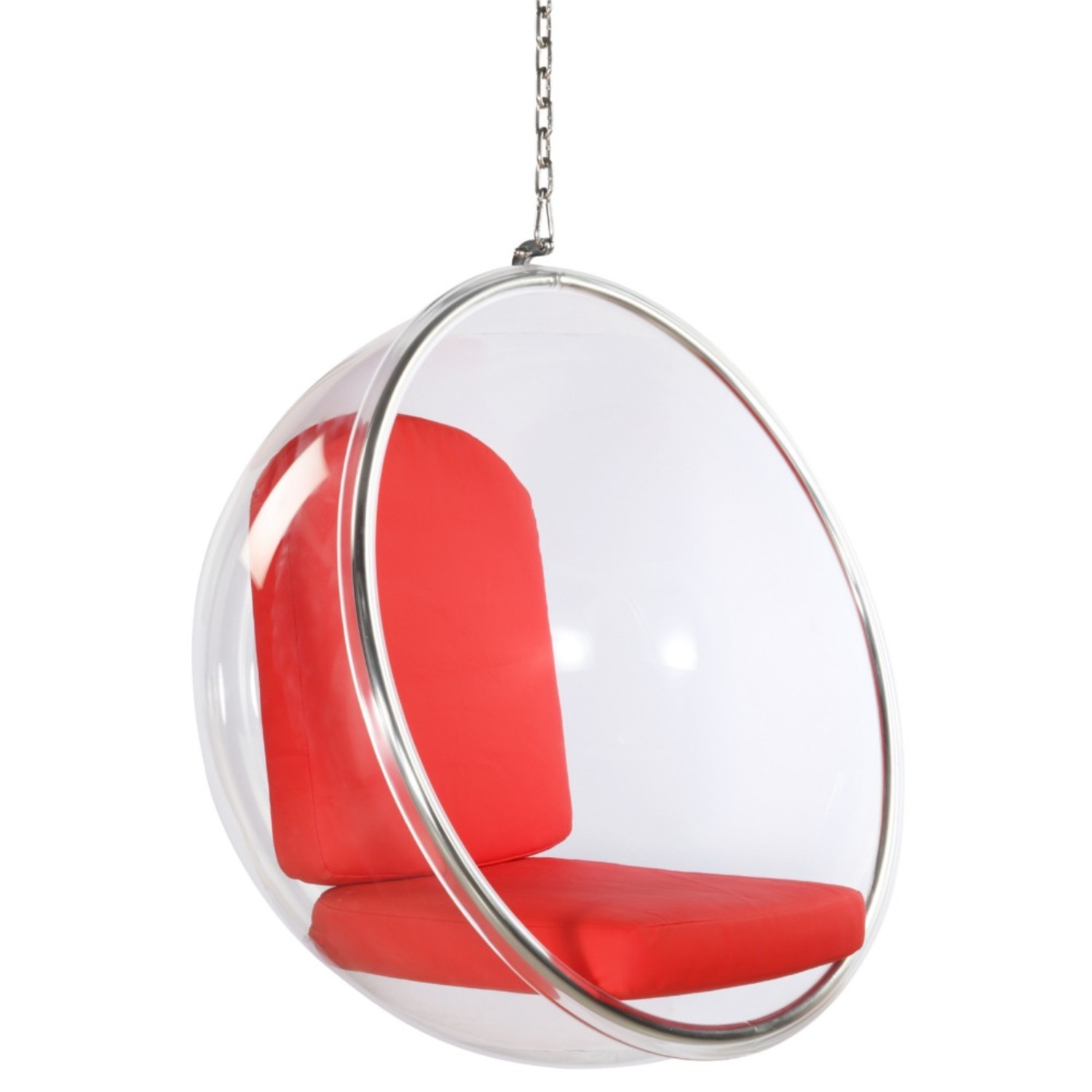 Hanging Chair In Clear Acrylic & Red PU Leather - image-0