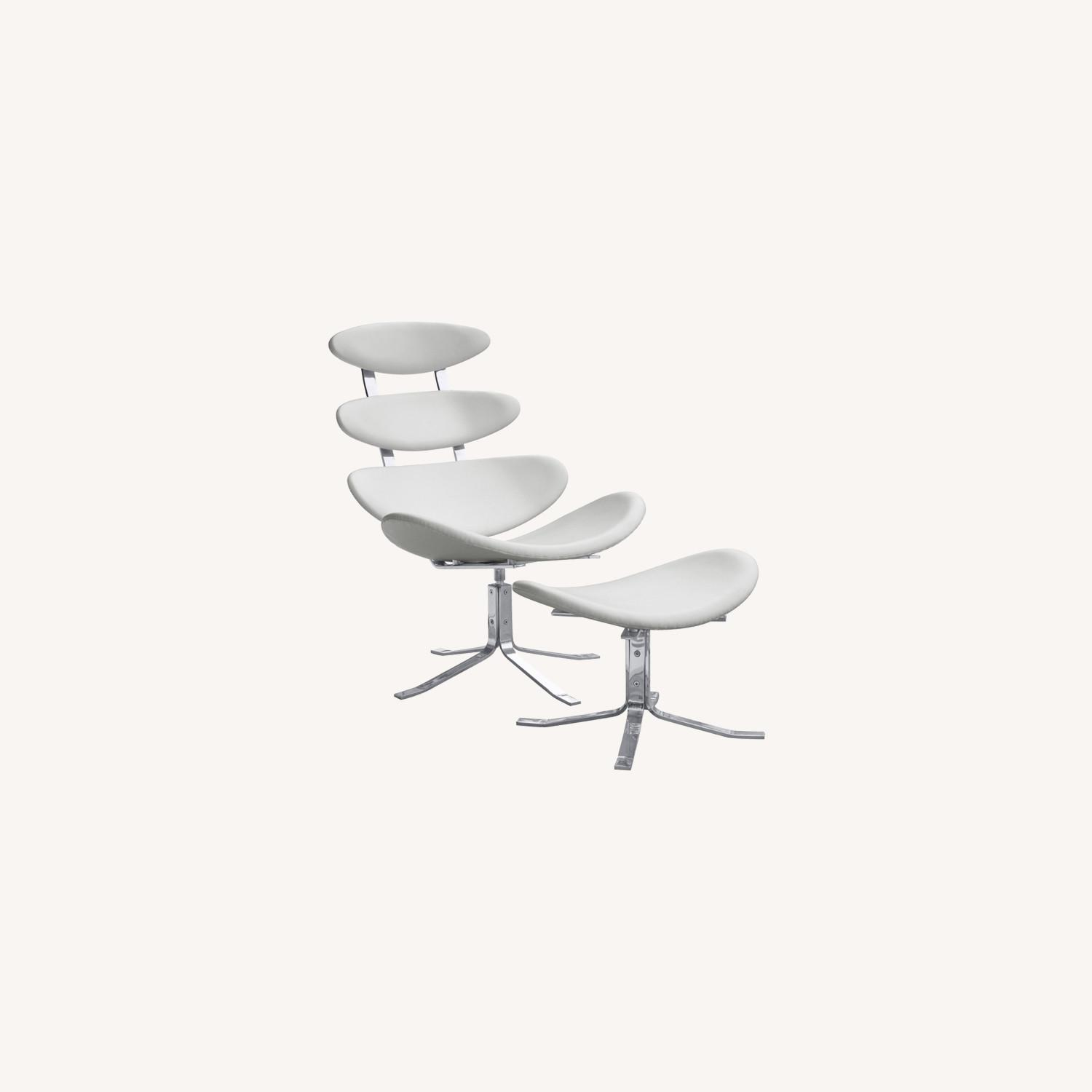 Chair & Ottoman In White Leather Sculptured Form - image-7