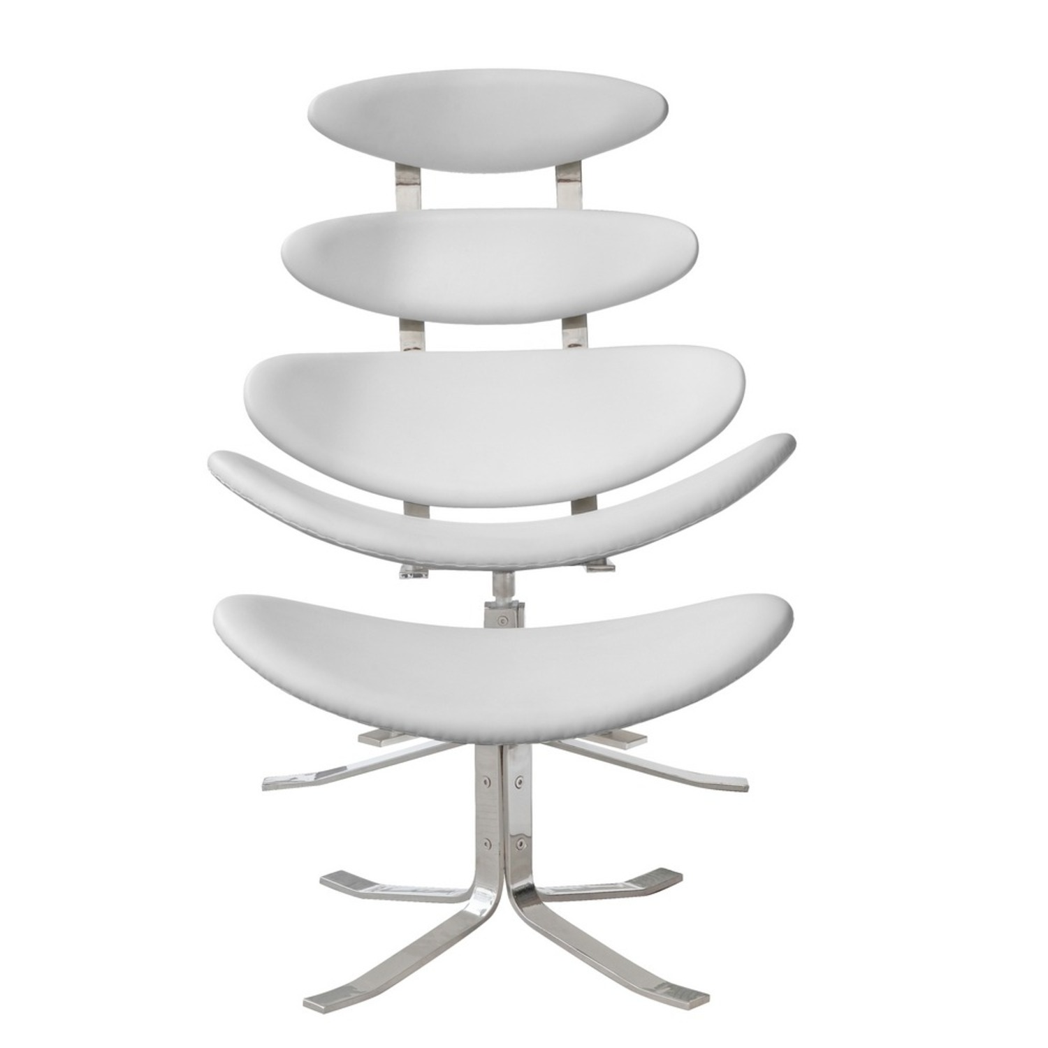 Chair & Ottoman In White Leather Sculptured Form - image-5