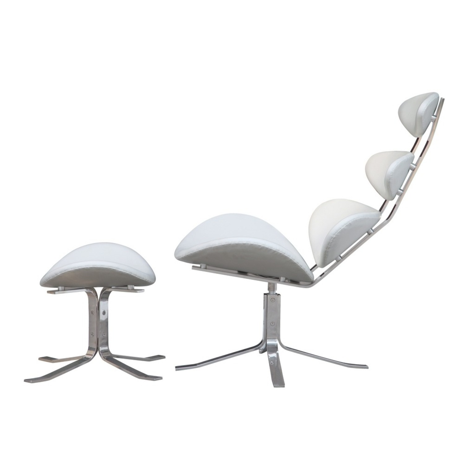 Chair & Ottoman In White Leather Sculptured Form - image-3