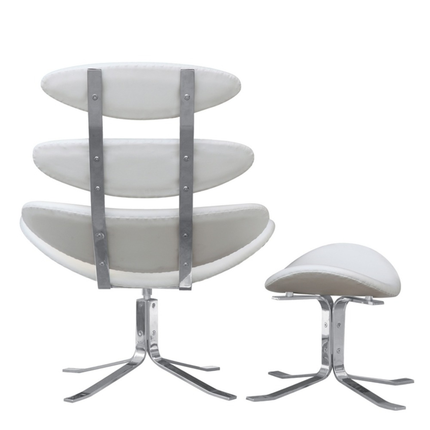 Chair & Ottoman In White Leather Sculptured Form - image-2
