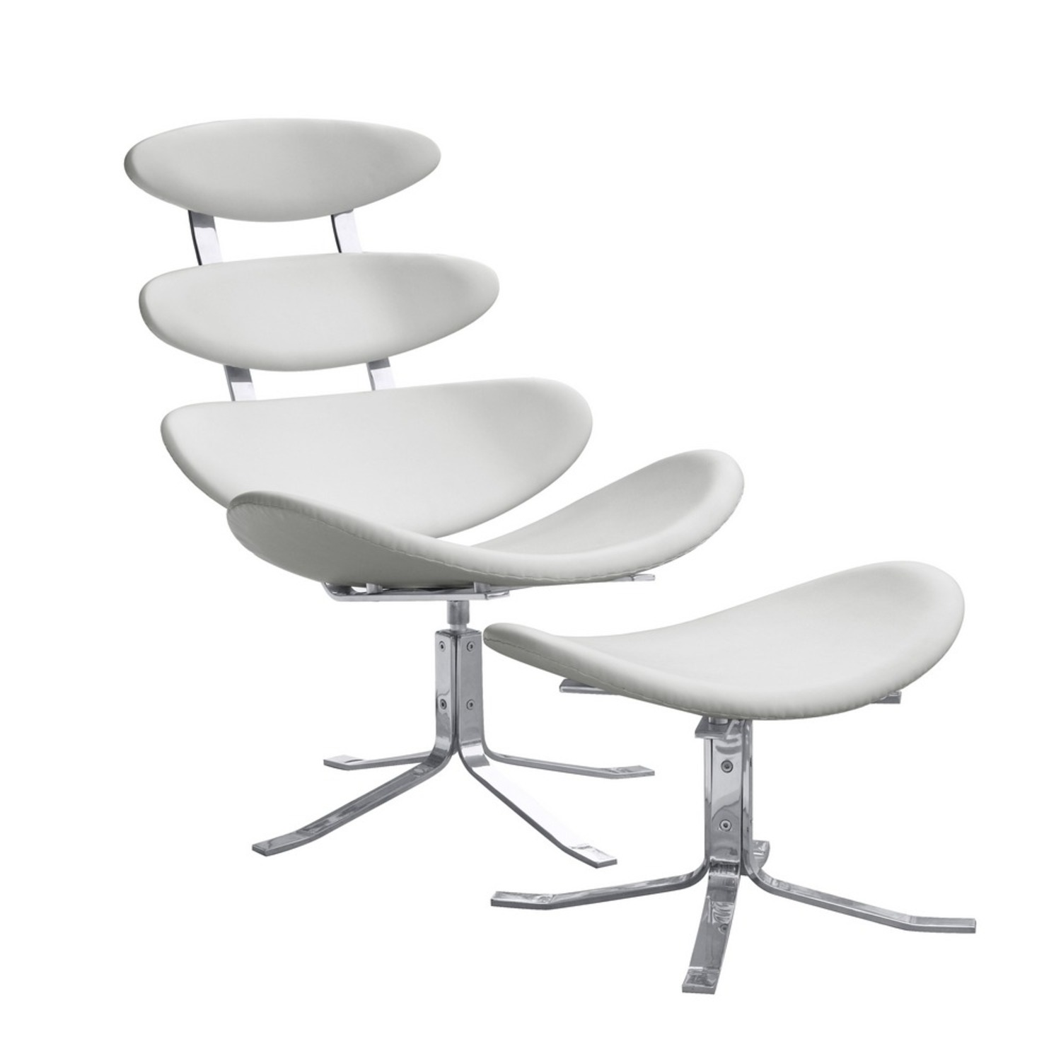 Chair & Ottoman In White Leather Sculptured Form - image-0