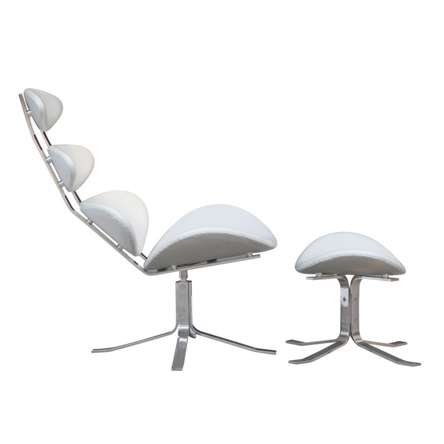 Chair & Ottoman In White Leather Sculptured Form - image-1