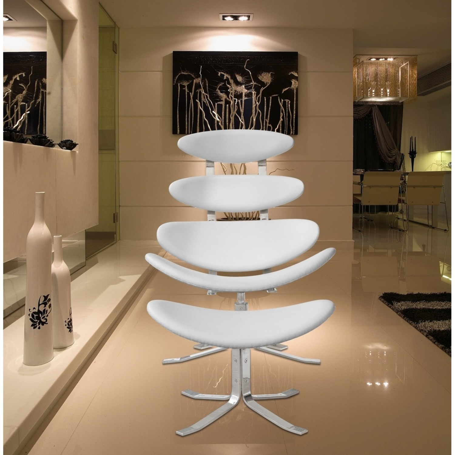 Chair & Ottoman In White Leather Sculptured Form - image-6