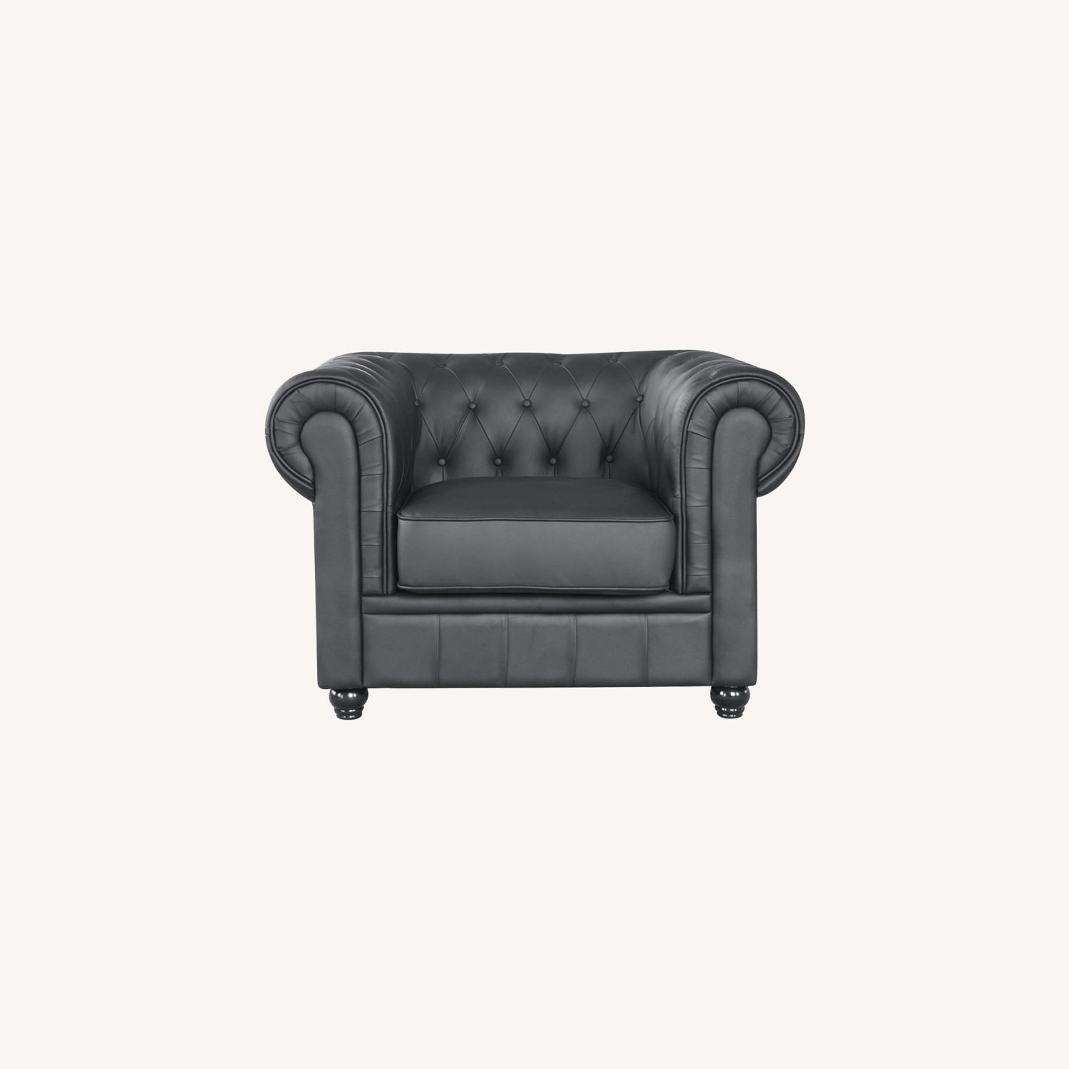 Modern Chair In Soft Black Leatherette - image-7