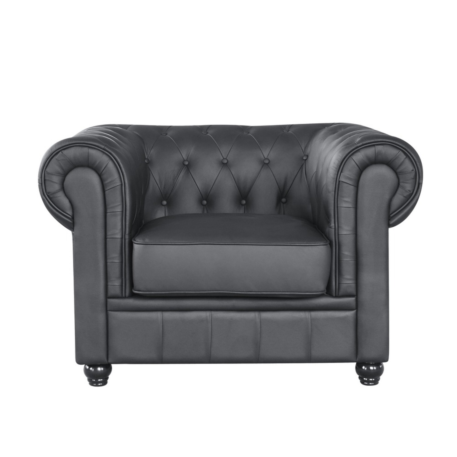 Modern Chair In Soft Black Leatherette - image-5