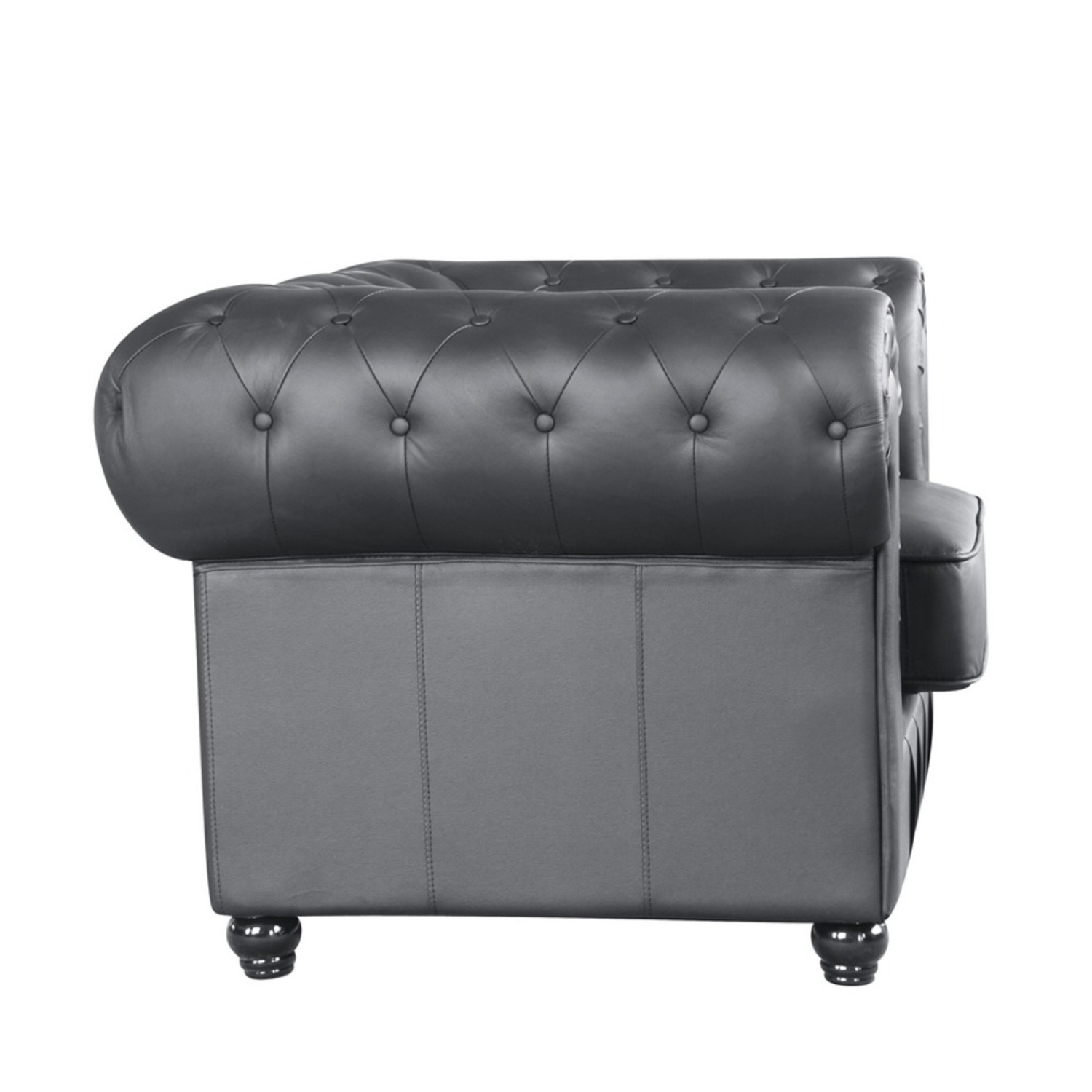 Modern Chair In Soft Black Leatherette - image-1