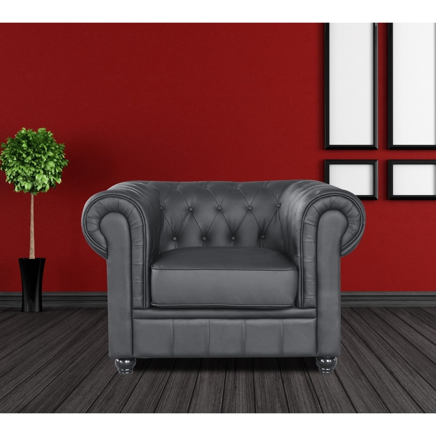 Modern Chair In Soft Black Leatherette - image-6