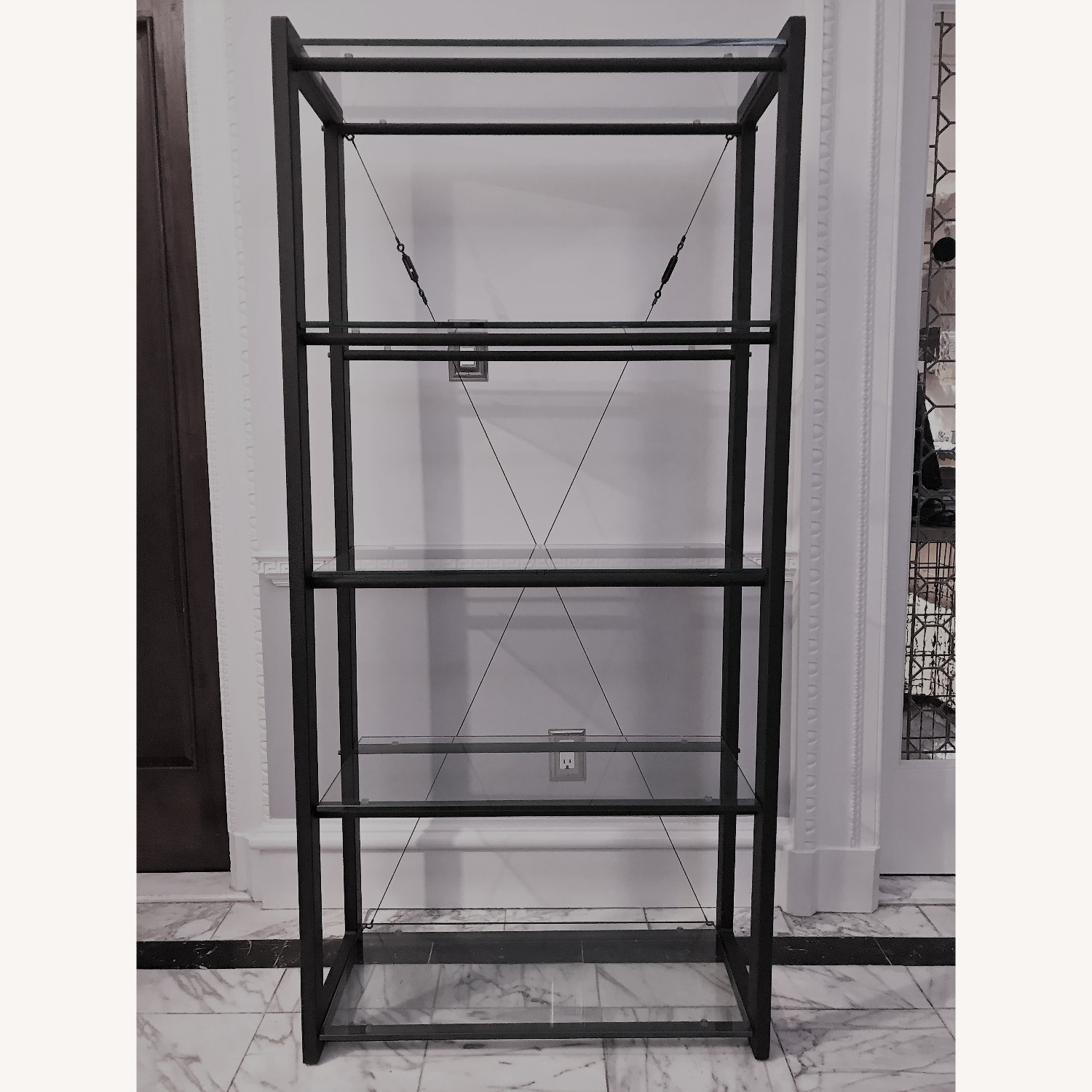 Jensen-Lewis 5-shelf Metal & Glass Bookshelf - image-1