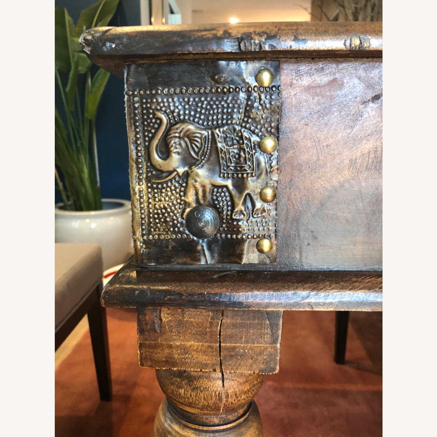 Antique Hand Carved Wood Table with Brass Accents - image-2