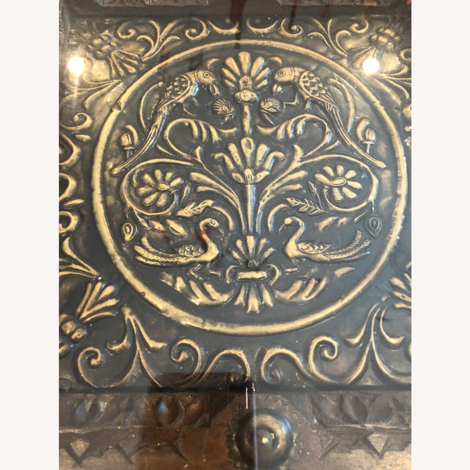 Antique Hand Carved Wood Table with Brass Accents - image-4