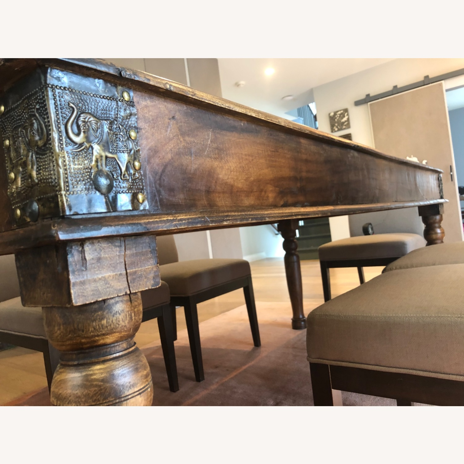 Antique Hand Carved Wood Table with Brass Accents - image-1