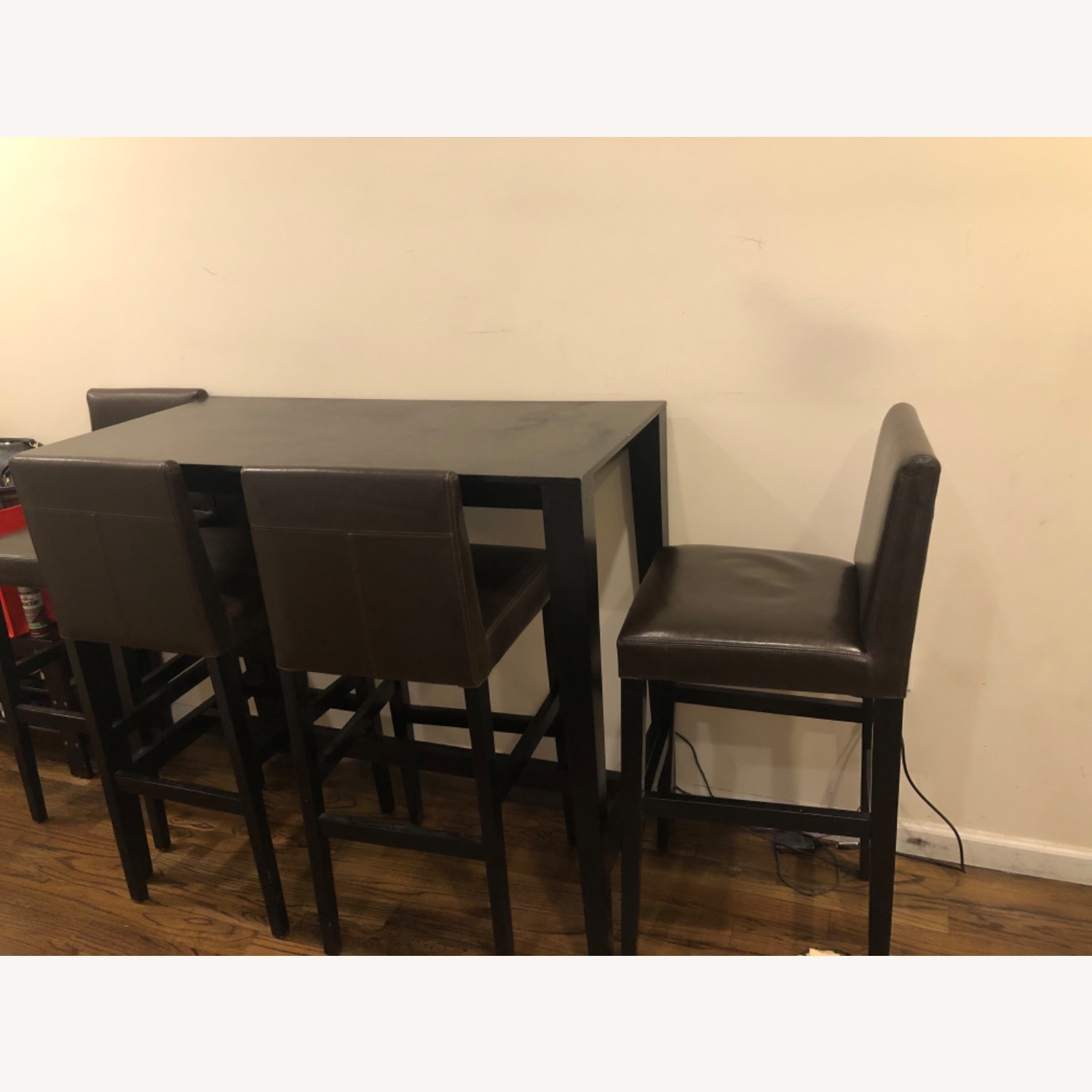 Crate and Barrel Brown Dining Table and 4 Chairs - image-2