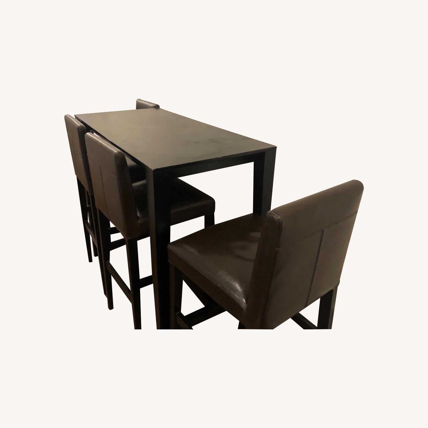 Crate and Barrel Brown Dining Table and 4 Chairs - image-0