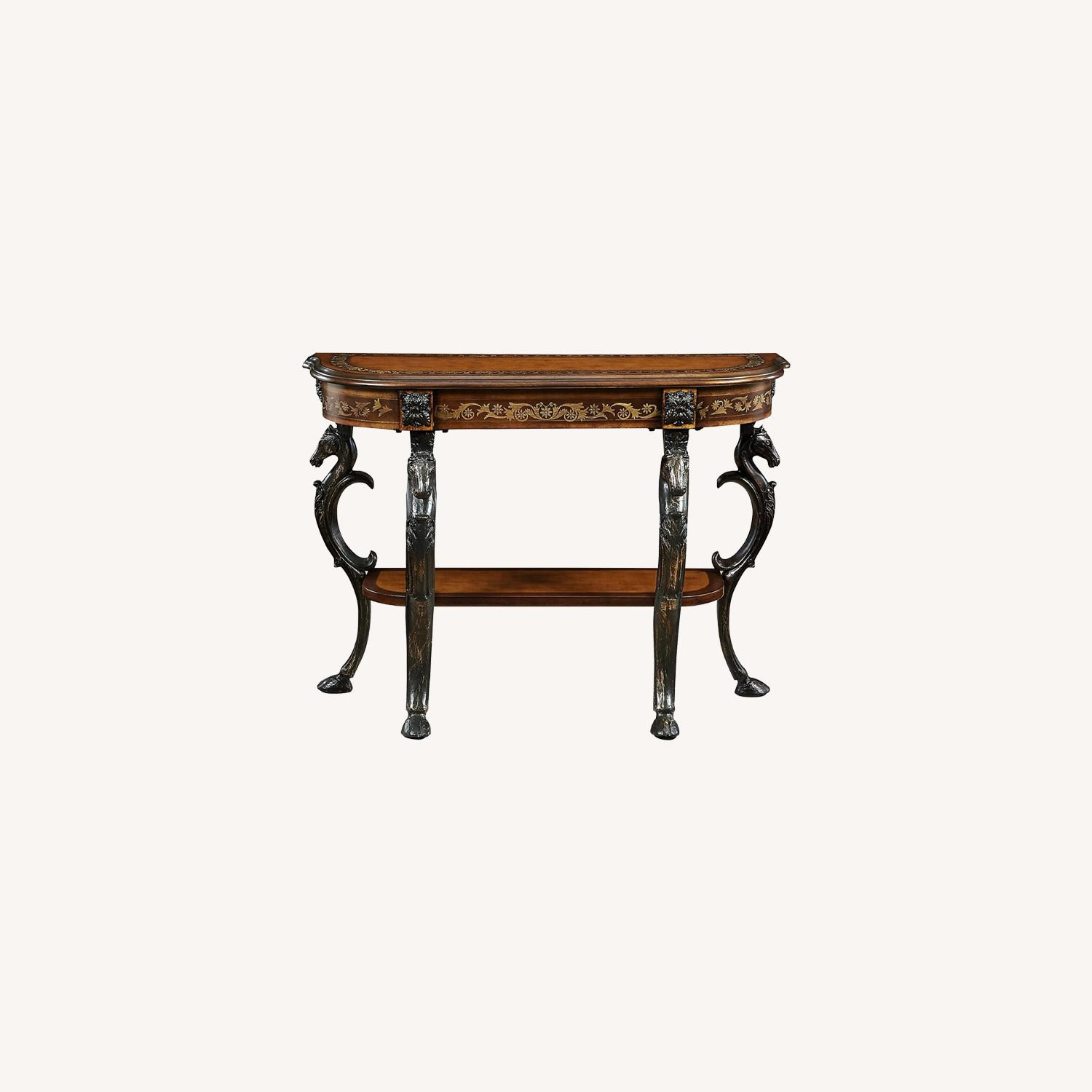 Powell Masterpiece Floral Demilune Console Table - image-0