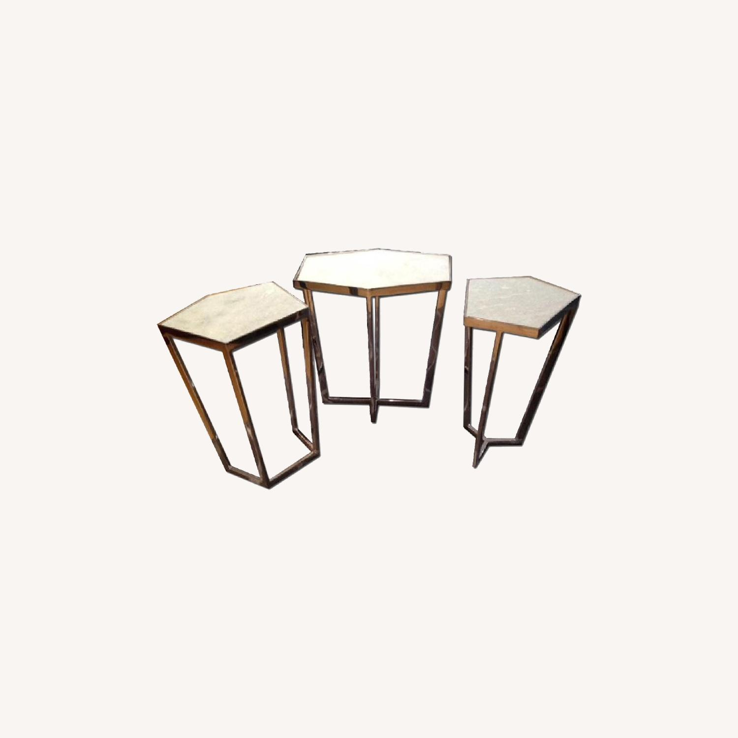 Marble and Chrome End Tables - image-0
