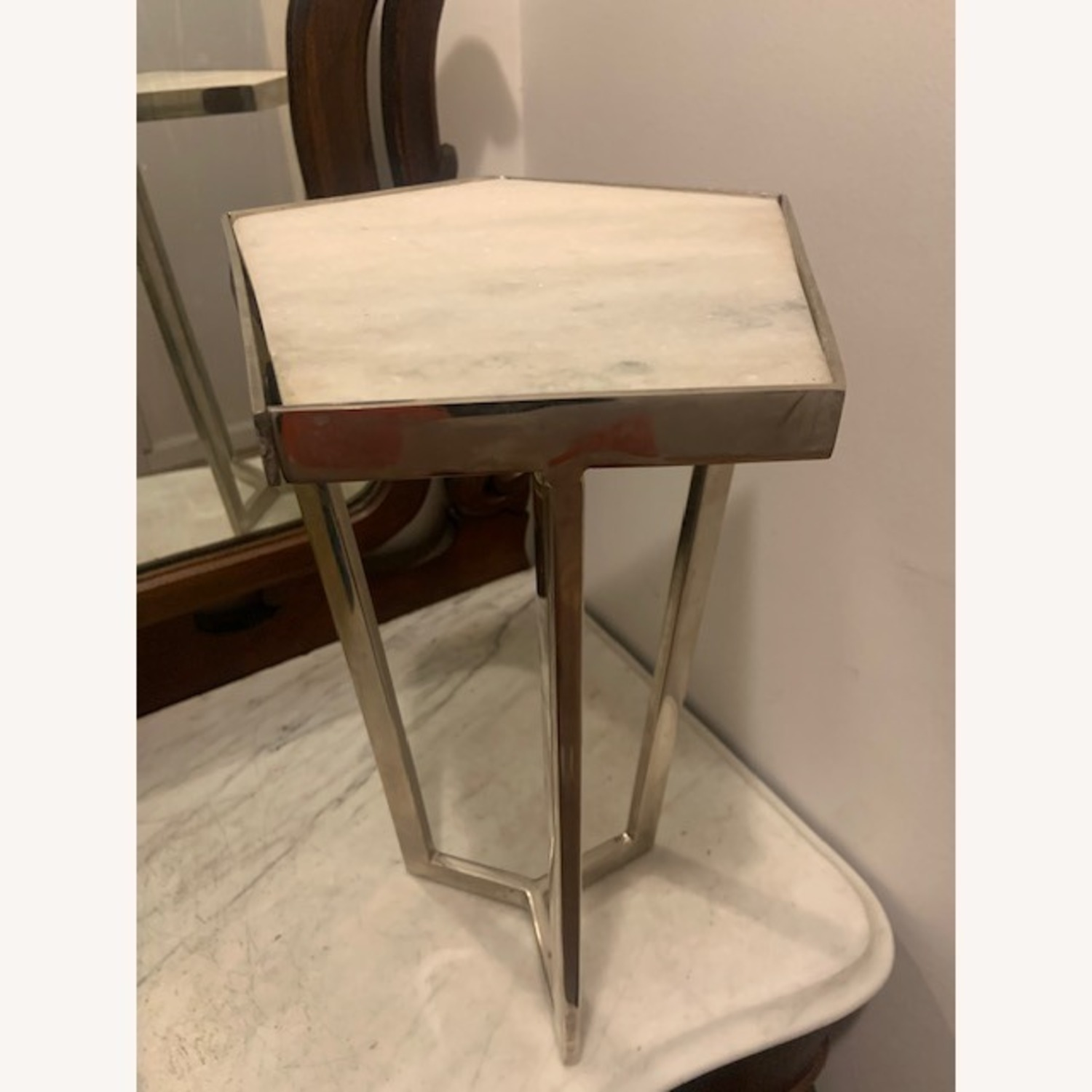 Marble and Chrome End Tables - image-3
