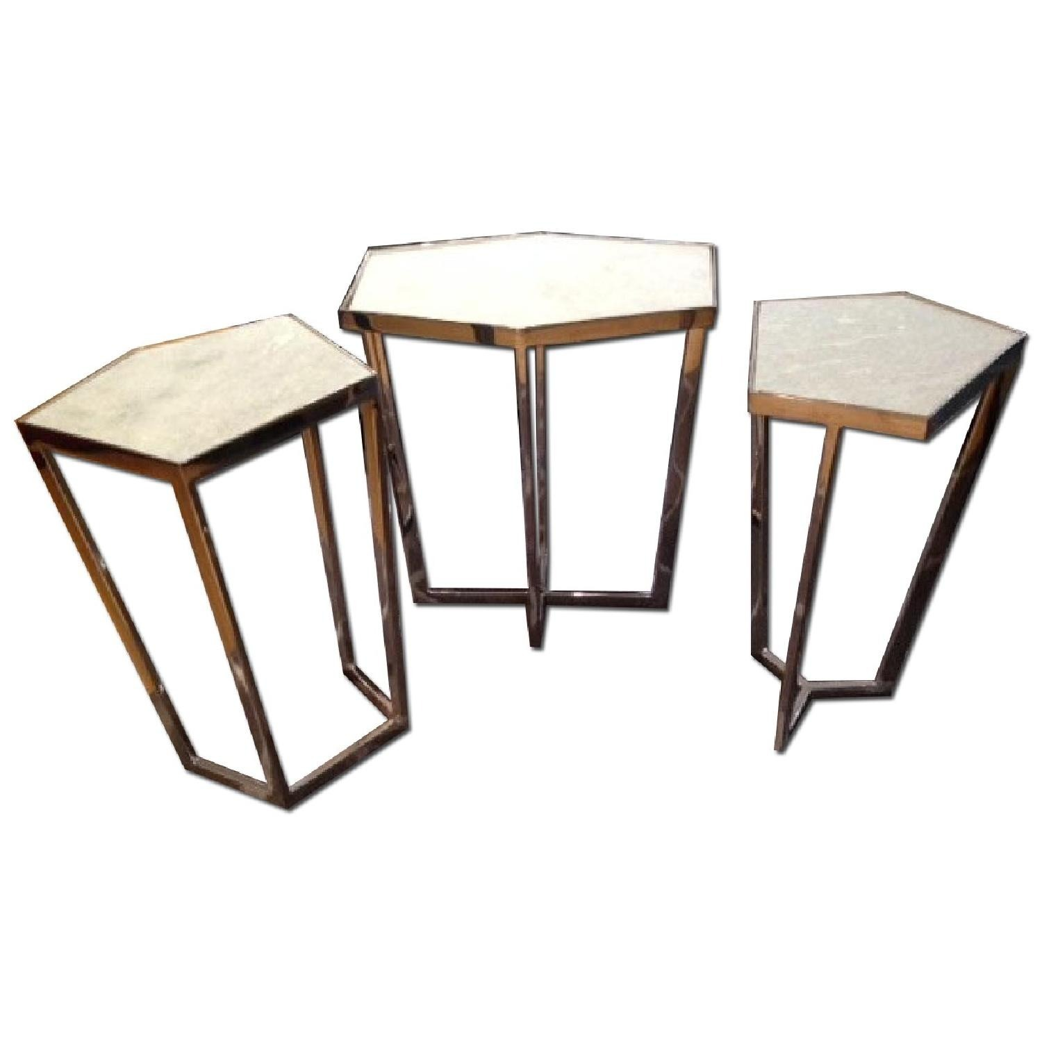Marble and Chrome End Tables - image-1