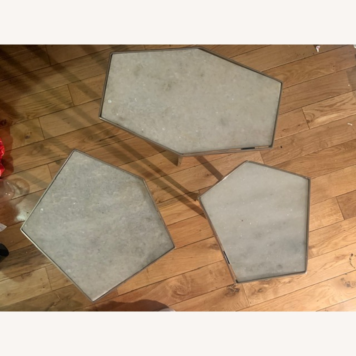 Marble and Chrome End Tables - image-2