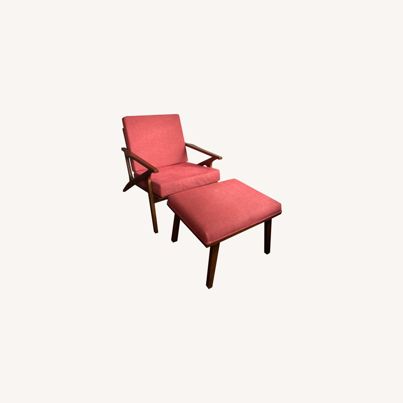 Mid century Maroon Accent Chair + Ottoman - image-0