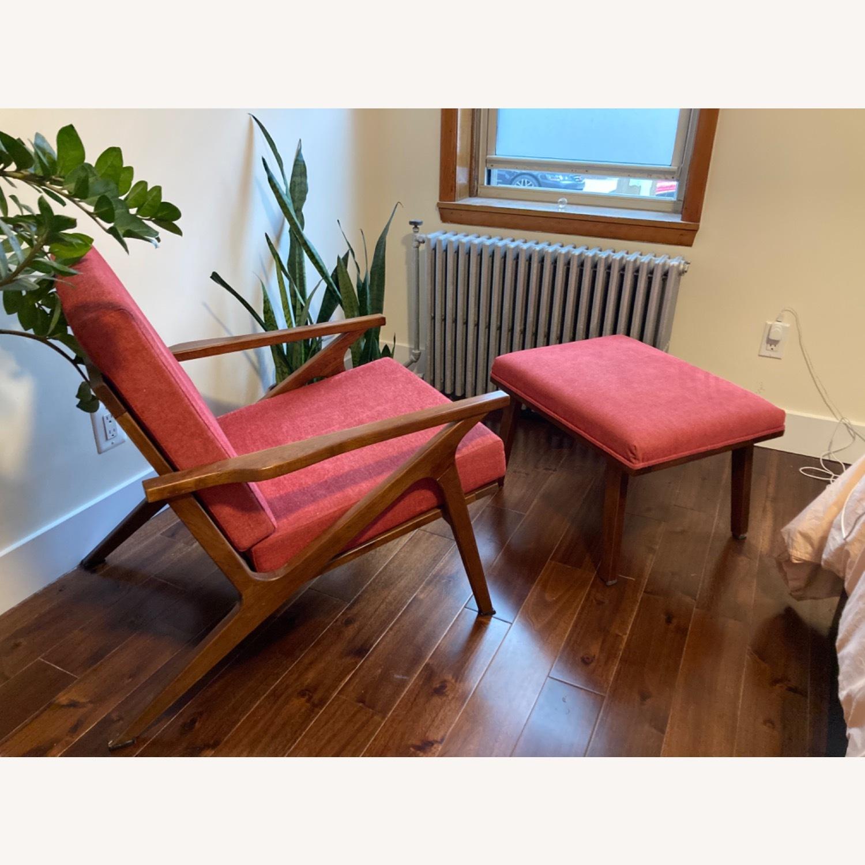 Mid century Maroon Accent Chair + Ottoman - image-3