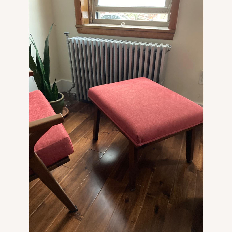 Mid century Maroon Accent Chair + Ottoman - image-2