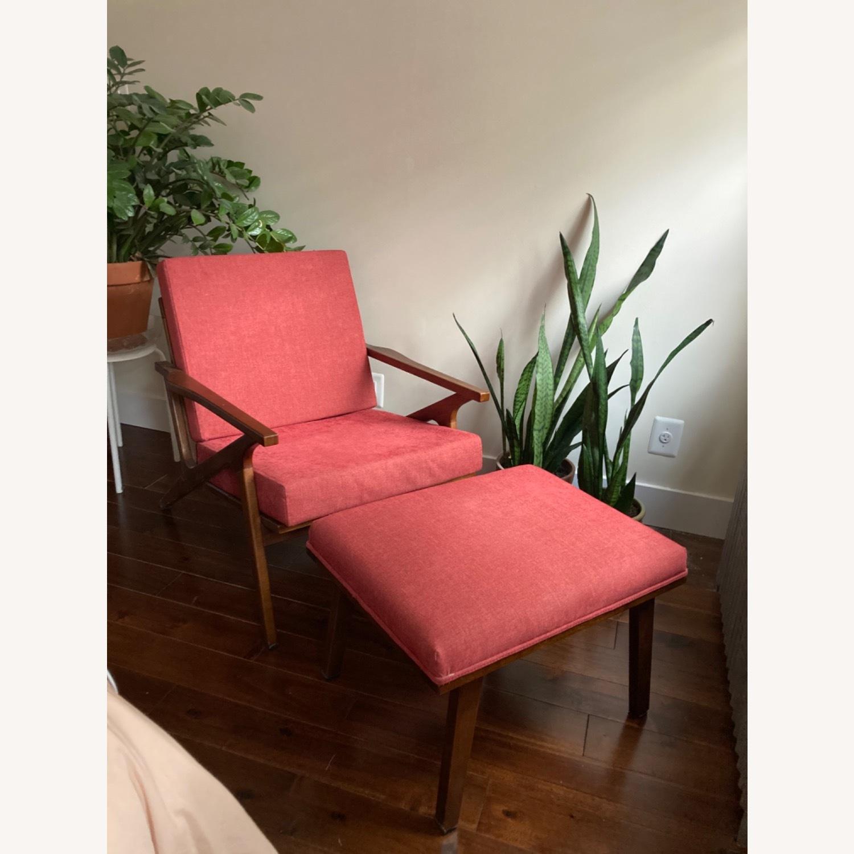 Mid century Maroon Accent Chair + Ottoman - image-1