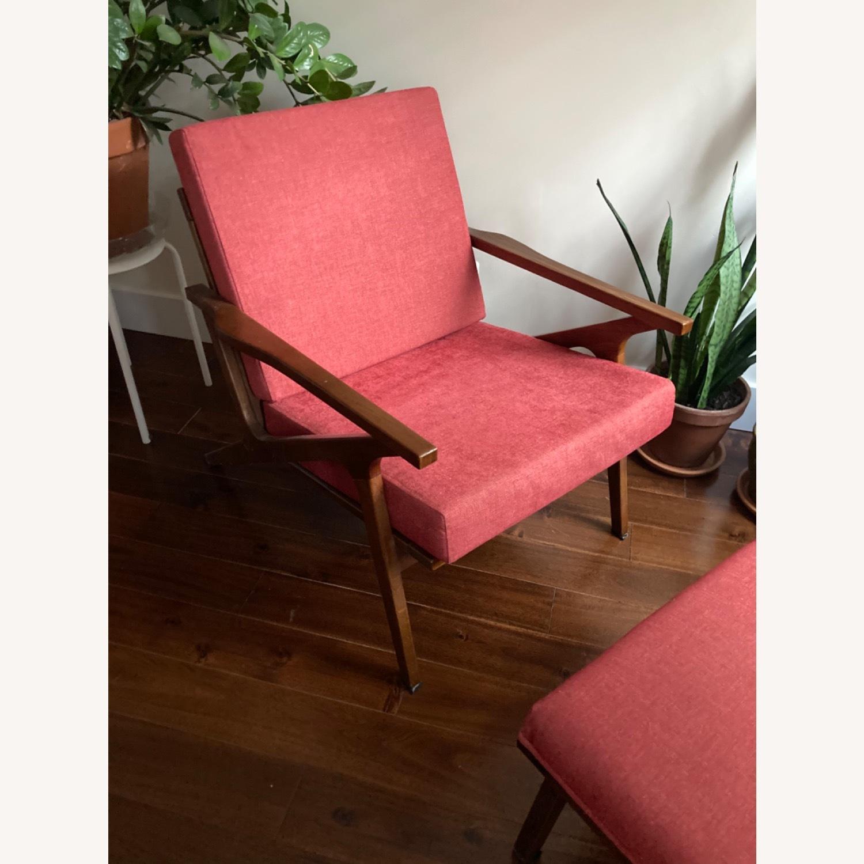 Mid century Maroon Accent Chair + Ottoman - image-5