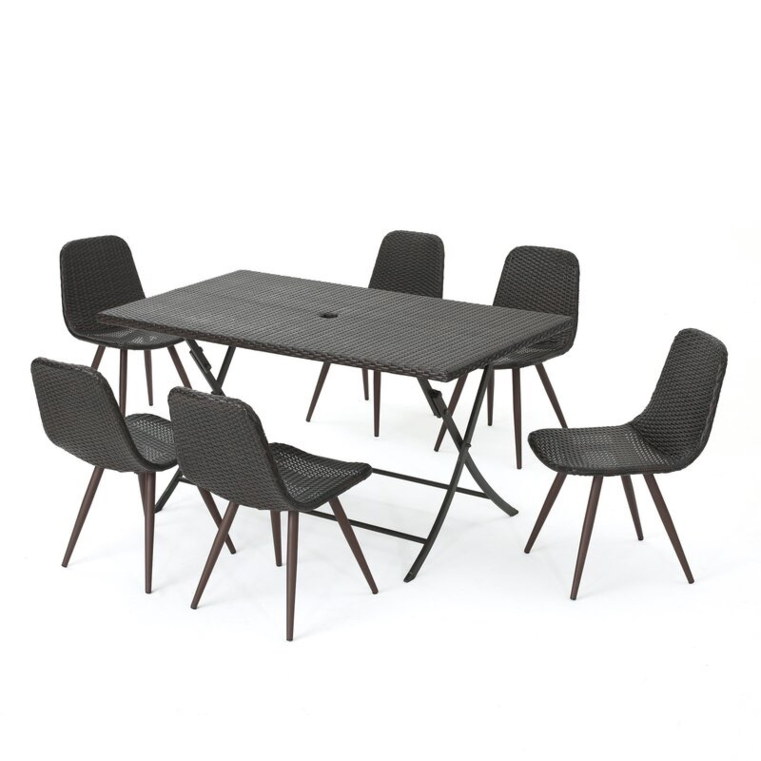 Outdoor Wicker Table and 6 Chairs - image-1