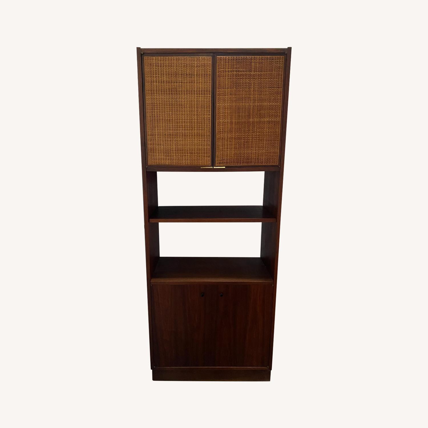 Midcentury Tall Media Cabinet with Cane Doors - image-0