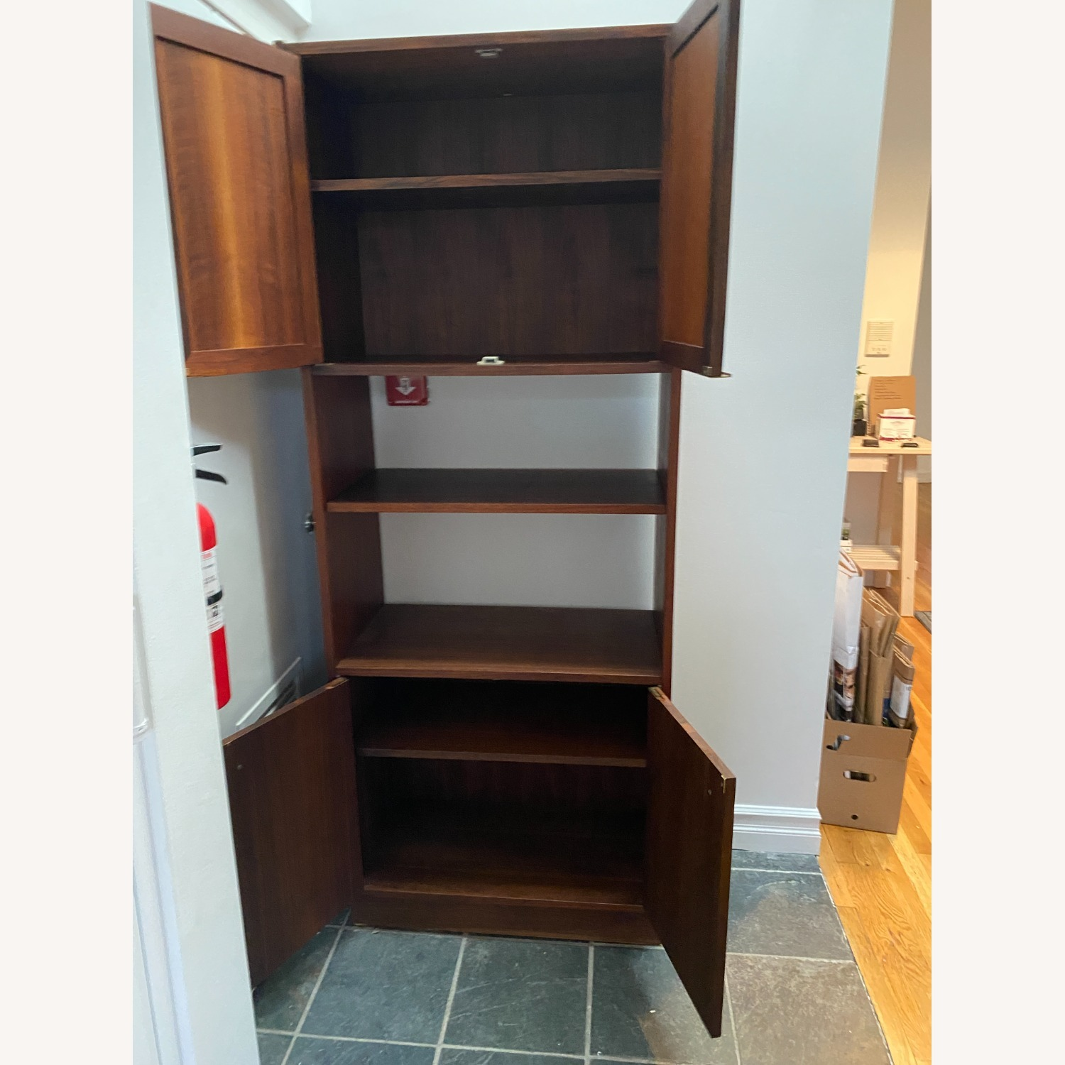 Midcentury Tall Media Cabinet with Cane Doors - image-3