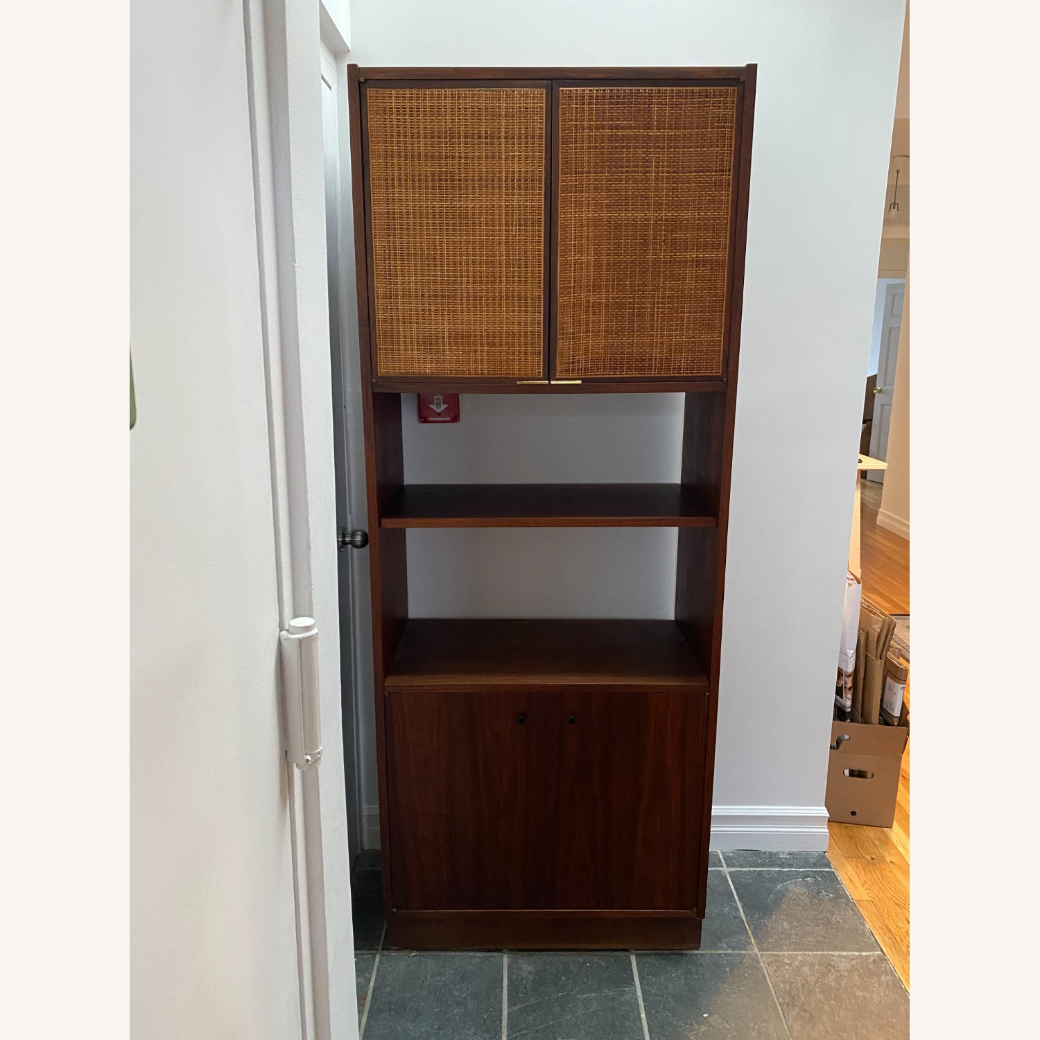 Midcentury Tall Media Cabinet with Cane Doors - image-1