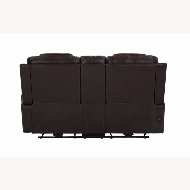 Power Loveseat In Dark Brown Leather W/ Storage - image-4