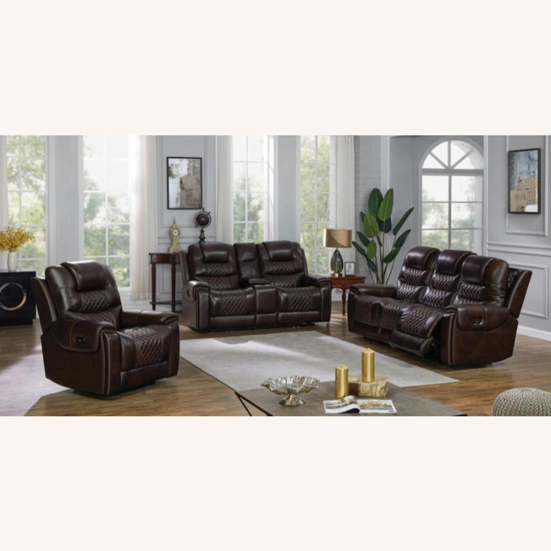 Power Loveseat In Dark Brown Leather W/ Storage - image-7