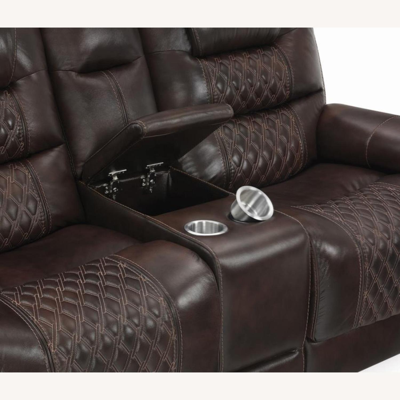 Power Loveseat In Dark Brown Leather W/ Storage - image-3