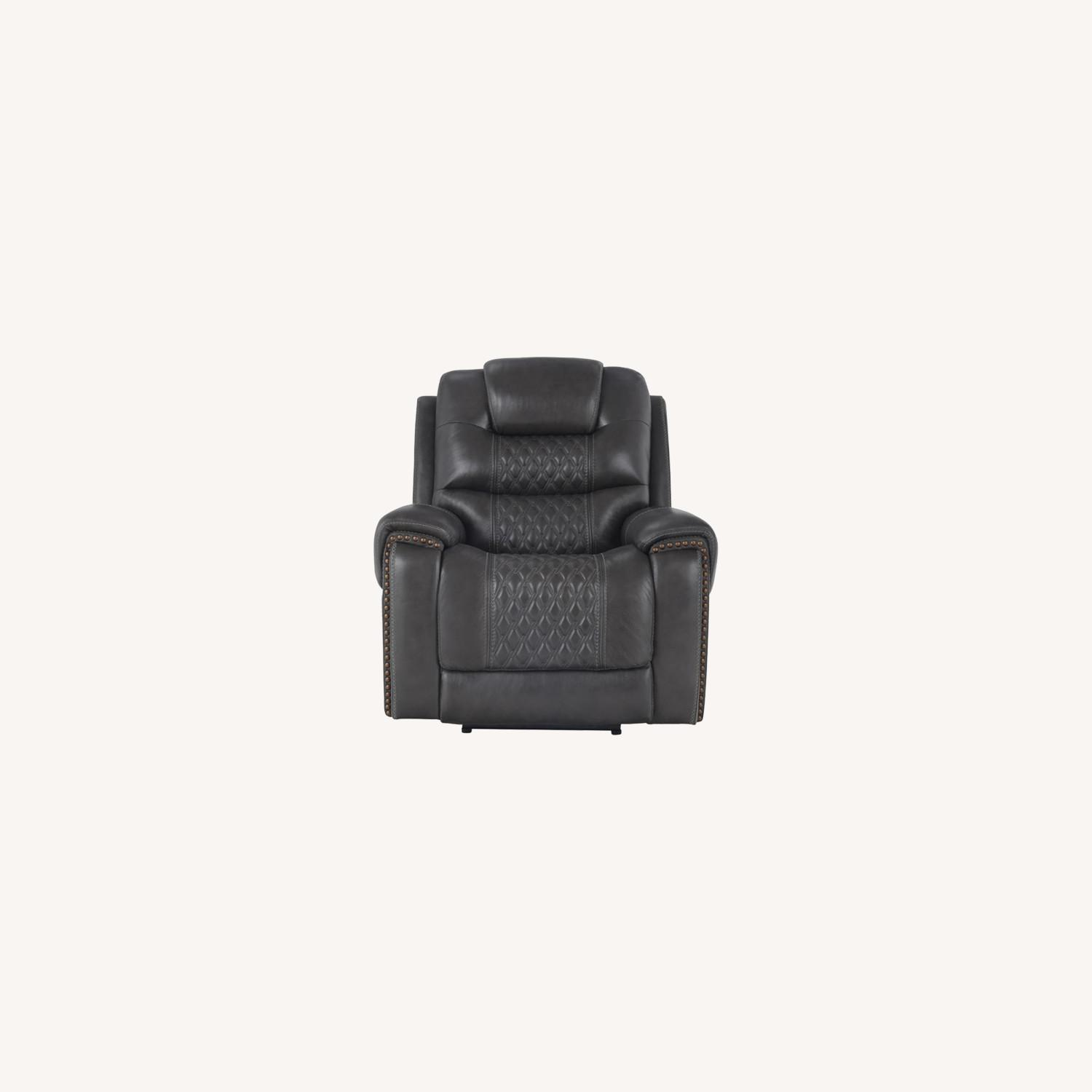 Power Recliner In Charcoal Top Grain Leather - image-10