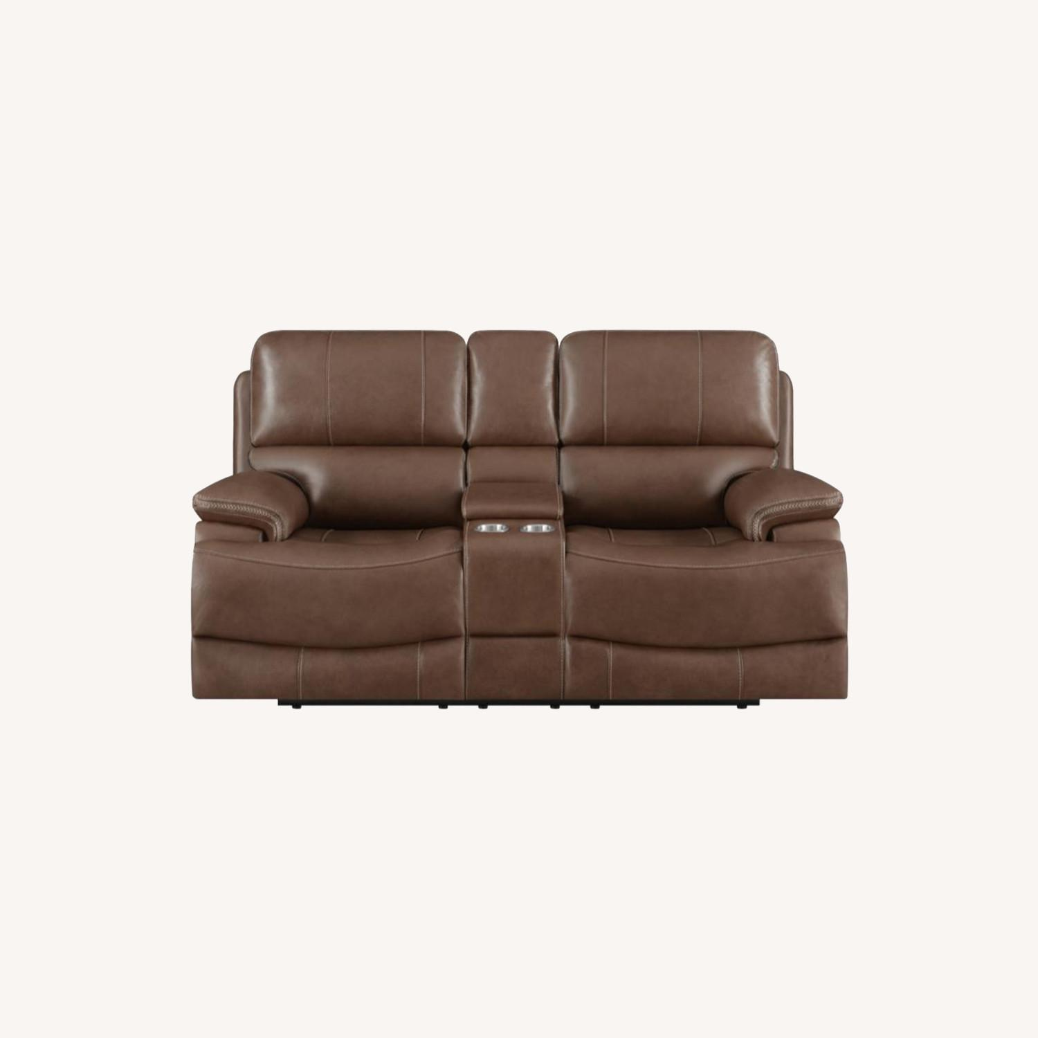 Power Loveseat In Saddle Brown W/ Reclining Seats - image-7