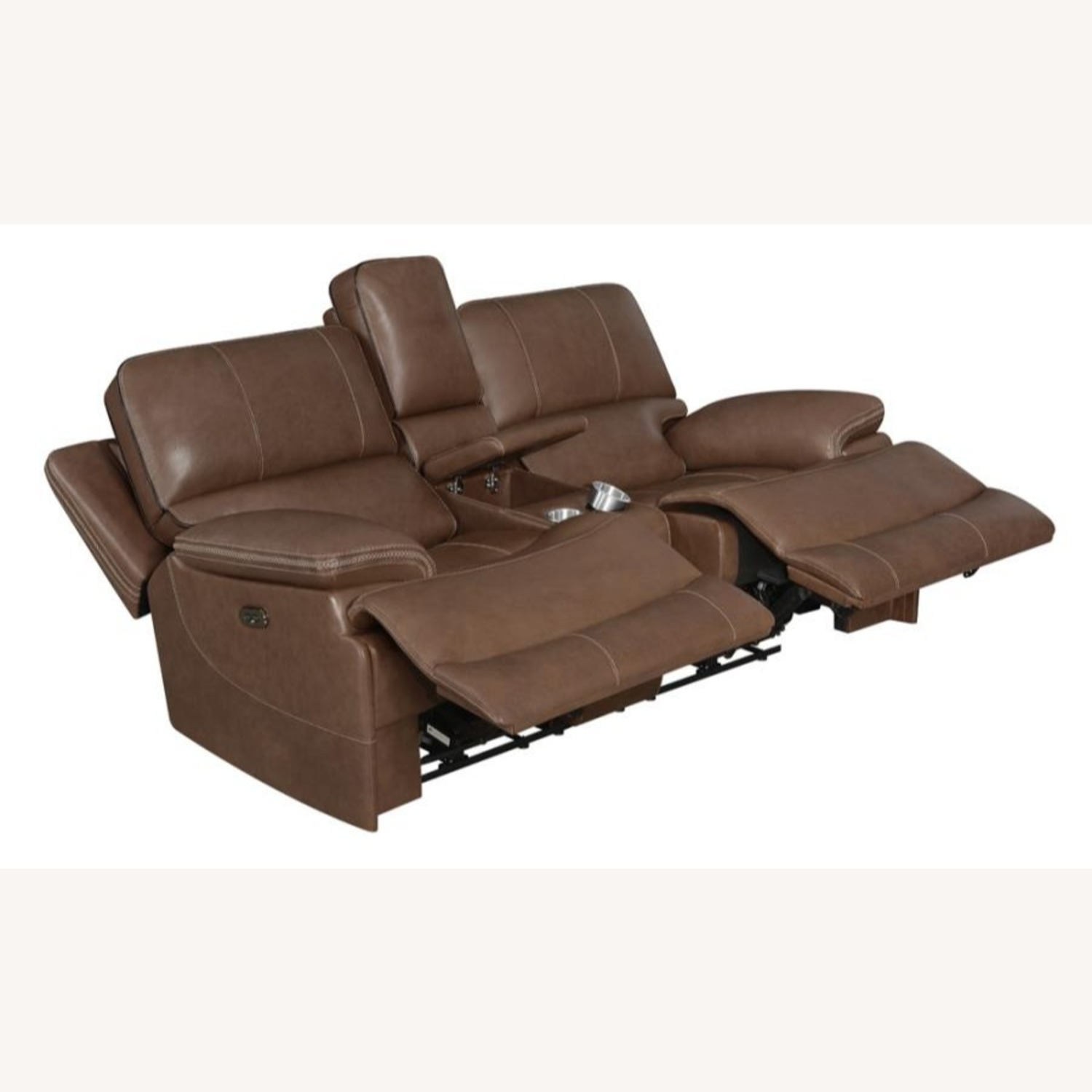 Power Loveseat In Saddle Brown W/ Reclining Seats - image-2